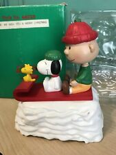 1991 Willitts Peanuts Snoopy Charlie Brown Wind Up Music Box Sled Box Repaired
