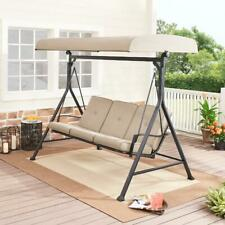 New listing Plush Outdoor Patio Porch Swing Set Seats 3 Cushions Steel Adjustable Canopy Bei