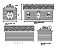Shed Plans 24'X12' Drawings Blueprints Shed 12'x24' Gable #17-1224Gbl-1