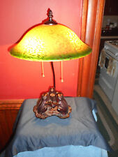 METAL FROG LAMP GREEN & YELLOW ART GLASS DOME SHADE DOUBLE SOCKET LILLY PAD LAMP
