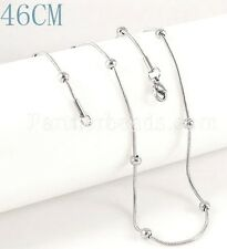 Silver Stainless Steel Snake Small Ball Chain 46cm 18inches for Necklace Pendant