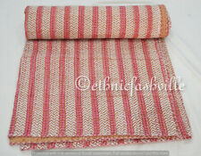 Indian Cotton Kantha Quilt Bedspread Striped Bedding Coverlet Hand Block Printed