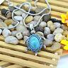New: Boho Halskette mit Schildkröte Türkis Anhänger Silberkette Blau Strass 47cm