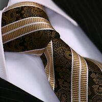 Krawatte Krawatten Schlips Binder de Luxe Tie cravate 179 braun gestreift