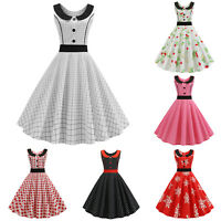 Women's Retro 50s Rockabilly Hepburn Vintage Swing Sleeveless Party Skater Dress