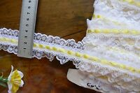 Poly Gathered WHITE Lace with 6mm YELLOW Satin Centre Thread 5Metres 40mmWideFRL