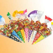 Party Cello Cone Bags Cellophane Sweets Treat Bags - Candy Gifts - Large 18x37cm