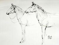 Paul Groß 1873-1942 Dresden: 2 Pferde 43 x 58 cm Tusche 1931 Neue Sachlichkeit