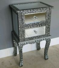FRENCH BEDSIDE TABLE CABINET LAMP BLACK SILVER MIRRORED BEDROOM EMBOSSED