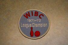 """VINTAGE ORIGINAL 1971-1972 WIBC BOWLING LEAGUE CHAMPION 3"""" PATCH"""