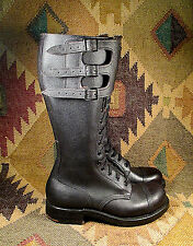 Vintage WWII BRITISH Black LEATHER MOTORCYCLE BOOTS Iron Plate Heel size UK - 6F