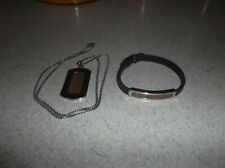 men - stainless steel - dog tag pendant with chain and leather bracelet