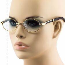 ELITE Mens CLASSY Style Clear Lens EYE GLASSES Wooden Print Oval Gold Frame NEW