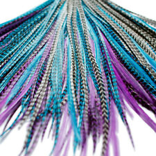 REAL FEATHER HAIR EXTENSIONS 20x MIDNIGHT KIT: RINGS INCLUDED (B GRADE)