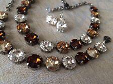 Fall Swarovski crystal elements Necklace Bracelet Earring 12mm Jewelry Set Brown