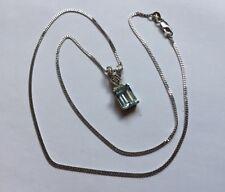 Hallmarked 18ct 18k White Gold Emerald Cut Aquamarine Diamond Pendant 18ct Chain