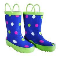 Blue Polka Dots Toddler Girls Rain Boots 5-10