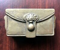 Antique 1920s Solid Brass Lidded Dual Compartment Stamp Holder Trinket Box