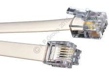 15m RJ11 a RJ11 Lead Cable 4 Pin De Banda Ancha Adsl Router Módem teléfono 6p4c Blanco