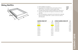 Timberlake Sliding Shelf Kit (Base Cabinet - SSK18)