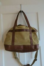 RARE  LL Bean Canvas & Leather Carry On Computer Gym Duffel Bag Triple Needle