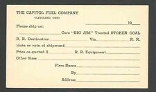 Ca 1924 PC CLEVELAND OH BIG JIM TREATED STOKER COAL DELIVERY BY RR CAP FUEL CO