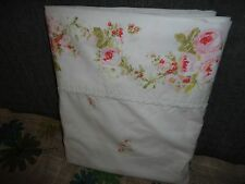VINTAGE SEARS PERMA PREST PINK  WHITE FLORAL LACE BORDER QUEEN FLAT SHEET 88X96