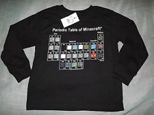 BOY'S PERIODIC TABLE OF MINECREAFT L/S T-SHIRT sz XS NEW