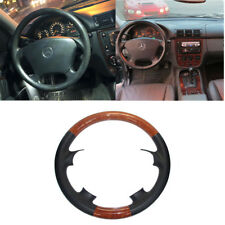 Black Leather Brown Wood Steering Wheel Cover Benz 98-05 W163 M ML 320 350 430