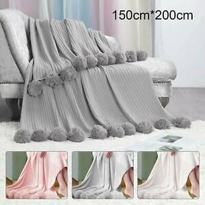 Reversible Pom Pom Knitted Throw Crochet Blanket Bed Sofa Cotton Rugs Home Décor