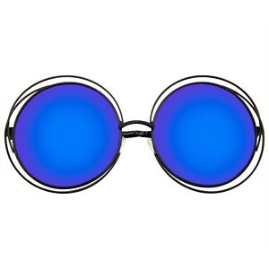 Sunglasses Round Retro Indie Dual Metal Oversize Round Mirrored Lens Sunglasses