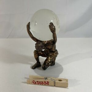 Atlas Man Holding Carrying Etched Glass Crystal Earth Globe Figural Metal Statue