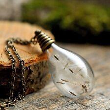Dandelion wish necklace, dandelion seeds necklace, glass vial handmade necklace
