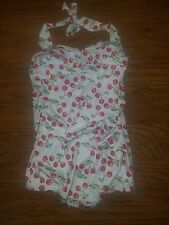 Large Halter Swimsuit w/Cherries One Piece Retro Pin Up Bathing Suit Dixiefried