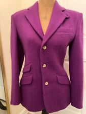 Ralph Lauren Womens Sz 4 Blazer Riding Equestrian Jacket Wool Purple Made in USA