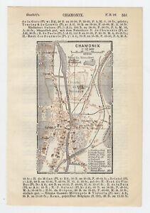 1930 ORIGINAL MINIATURE VINTAGE CITY MAP OF CHAMONIX / FRANCE