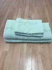 2-Pottery Barn Kids Seersucker Daisy Green Striped Duvet Covers & 2 Shams Flower