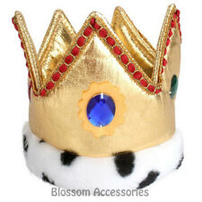 A819 Mini Gold Fabric Crown with Jewels Royal King Queen Party Costume Accesory