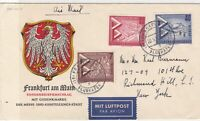 Berlin 1957 Bird Crested Airmail Frankfurt Double Cancel Stamps Cover ref 22120