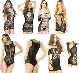 Sexy Body Stocking Bodysuit Fishnet Babydoll Mini Dress Bodycon Teddy Lace Sheer