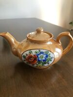 Blue and White Luster Teapot \u2013 Floral Design Made in Japan