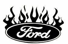 """FORD ON FLAMES Decal  Sticker 5"""" X 4""""   buy 2 get 1 free"""