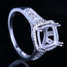 Silver Semi Mount Cushion 8x8mm 1/2CT Princess Diamonds Engagement Ring Setting
