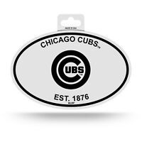 "CHICAGO CUBS BLACK AND WHITE OVAL DECAL STICKER 4""x 6"" EST. 1876 BASEBALL MLB"