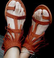NWOB Liberty Black Red Brick Fringe Sandals 7 Prairie Grass Sundance Catalog