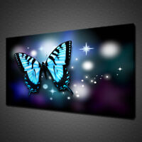 BLUE ABSTRACT BUTTERFLY LIGHT SPARKLES CANVAS PRINT WALL ART PICTURE PHOTO
