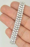 """6.70 Ct 14K WHITE GOLD NATURAL ROUND DIAMOND LADIES TENNIS 3 ROW BRACELET 6.75"""""""