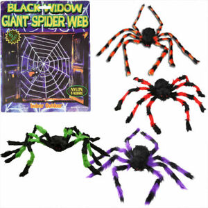 Hanging Giant Realistic Hairy Spider Web Haunted Pranks Gags Decoration Toys