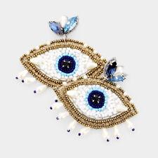 Beaded Evil Eye Drop Earrings Designer Inspired Crystal Marquise Faux Pearl