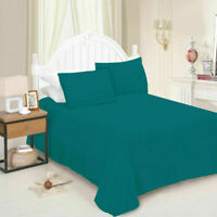 Plain Dyed Flat Sheet Poly-cotton Bed Sheets Single Double King UK All Sizes